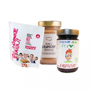 ALMOND BUTTER CRUNCHY 300G + PANCAKES NOW! ready pancake mix with white wheat flour (FAMILY PACK) + RASBERRY JAM 300ML