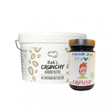 Almond butter crunchy 2kg & raspberry jam 300ml