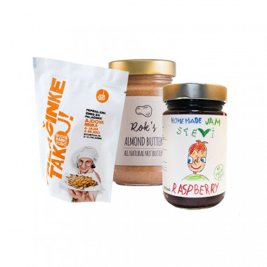 ALMOND BUTTER SMOOTH 300G + PANCAKES NOW! ready pancake mix with buckwheat flour + RASBERRY JAM 300ML