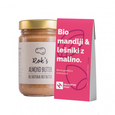 ALMOND BUTTER SMOOTH 300G & Organic almonds & hazelnuts with raspberries - HELICOPTER FOOD