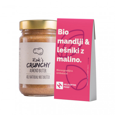 ALMOND BUTTER CRUNCHY 300G & Organic almonds & hazelnuts with raspberries - HELICOPTER FOOD