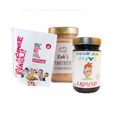PEANUT BUTTER SMOOTH 300G + PANCAKES NOW! ready pancake mix with white wheat flour (FAMILY PACK) + RASPBERRY JAM 300ML