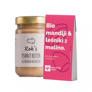 PEANUT BUTTER SMOOTH 300G & Organic almonds & hazelnuts with raspberries - HELICOPTER FOOD