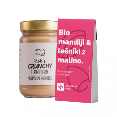 PEANUT BUTTER CRUNCHY 300G & Organic almonds & hazelnuts with raspberries - HELICOPTER FOOD