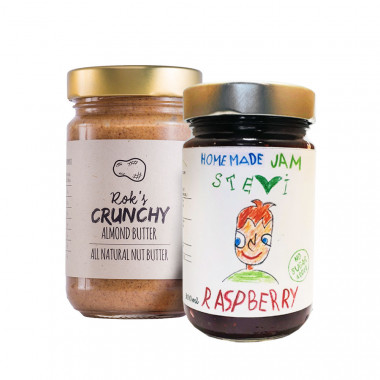 Almond butter crunchy 300g & raspberry jam 300ml